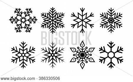 Snowflake For Christmas. Icon Geometric Set Of Snow. Line Winter Ornament. White Flake Of Snow. Froz