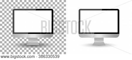 Computer Monitor Mockup With Screen Blank. Pc Isolated Desktop. Laptop With Frame. Modern Icon On Tr