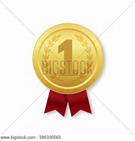 Golden Medal Of 1st Place. Vector Prize Icon With Red Ribbon For Winner. Gold Trophy Badge For Award