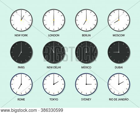 Time Zones With Clocks. World Watch Icons. Different Timezones. Set Of International Wall Clocks. Gl