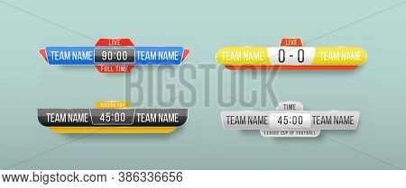 Scoreboard Broadcast Graphic And Lower Thirds Template For Sport Soccer, Football. Broadcast Score B