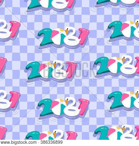 2021 Seamless Pattern. Pool Party Poster Template. New Year Celebration To Nightclub Or Hotel. Flat