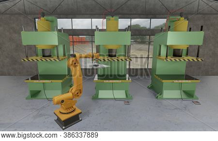Automated Manufacturing Factory Robotic Arm Loading Metal Sheet To Hydraulic Press Stamping Machine