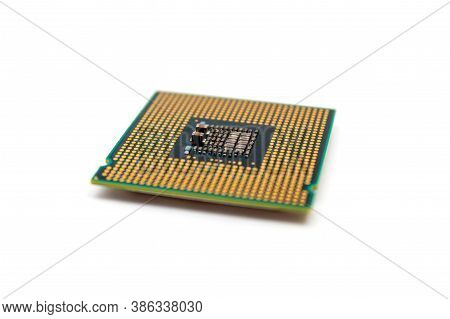 Computer Central Processing Units Isolated On White Background Pins Up Untitled Selective Focus. Hig