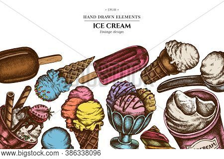 Colored Elements Design With Ice Cream Bowls, Ice Cream Bucket, Popsicle Ice Cream, Ice Cream Cones