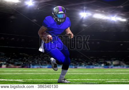 American Football Quarterback Running On Field Under Bright Spotlights