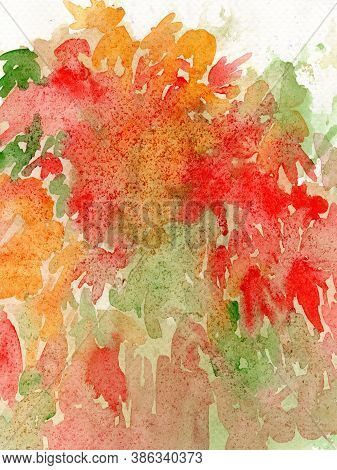 Abstract Watercolor Background Painting On Paper Texture, Autumn Trees With Colorful Leaves