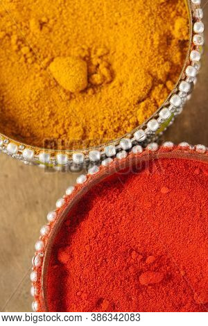 The Traditional Powder Made From Dried Turmeric.  In Hindu It Is An Auspicious Symbol.