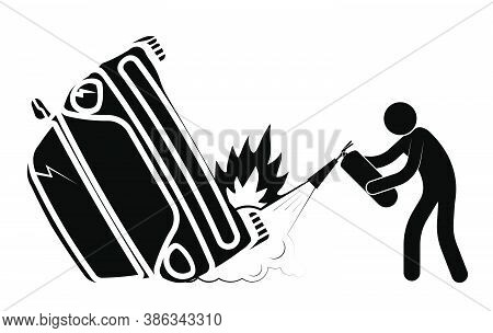 Car Accident, Crash. Collision Of Cars On Road, Side Impact At An Intersection. Stick Man Extinguish