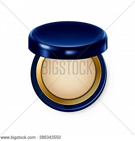 Make Up Powder Visage Complexion Cosmetic Vector. Powder Face Skin Tone And Foundation, Lady Fashion