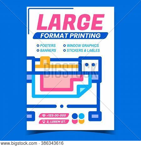 Large Format Printing Advertising Banner Vector. Industry Wide Format Printer Digital Electronic Mac