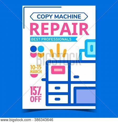 Copy Machine Repair Advertising Banner Vector. Electronic Copy Machine Fixing Center Service Creativ