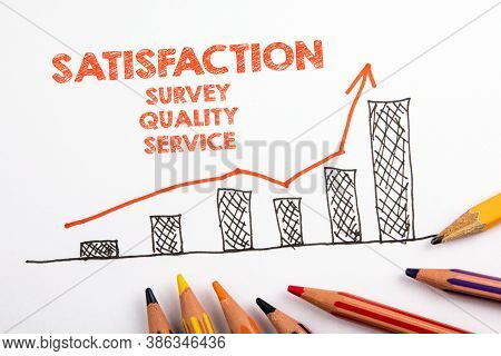 Satisfaction. Survey, Quality And Service Concept. Chart With Arrow And Colored Pencils