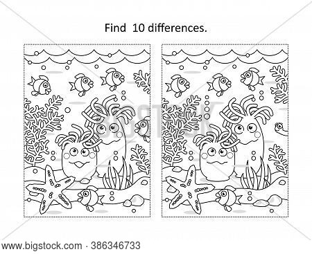Find Ten Differences Activity Page With Underwater Life Scene And Anemones