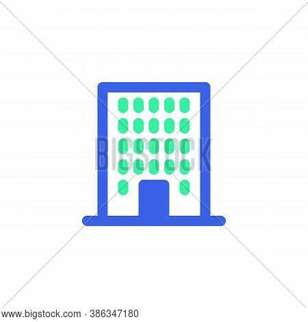 Townhouse Icon Vector, Filled Flat Sign, Bicolor Pictogram, Office Building Green And Blue Colors. S