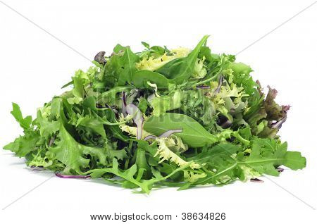 closeup of a pile of lettuce mix on a white background poster