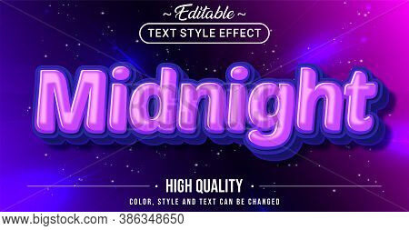 Editable Text Style Effect - Midnight Theme Style. Graphic Design Element.