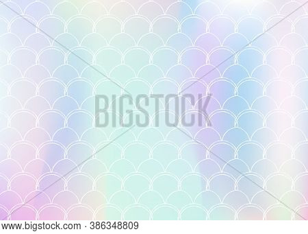 Gradient Mermaid Background With Holographic Scales. Bright Color Transitions. Fish Tail Banner And