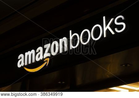 New York, Usa - May 20, 2018: Sign Of Amazon Books Store In New York City. It Is A Chain Of Retail B