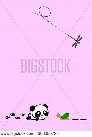 Snail And Dragonfly Panda Figurine On Pink Background