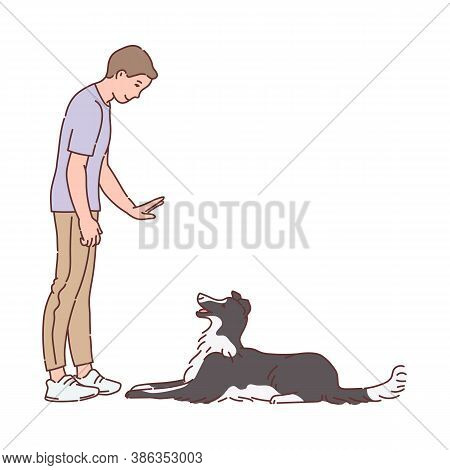 Man Training A Dog To Understand Command, Sketch Vector Illustration Isolated.