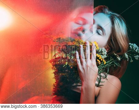 Natural Cosmetology. Organic Skincare. Double Exposure Sensual Woman With Closed Eyes Orange Flowers