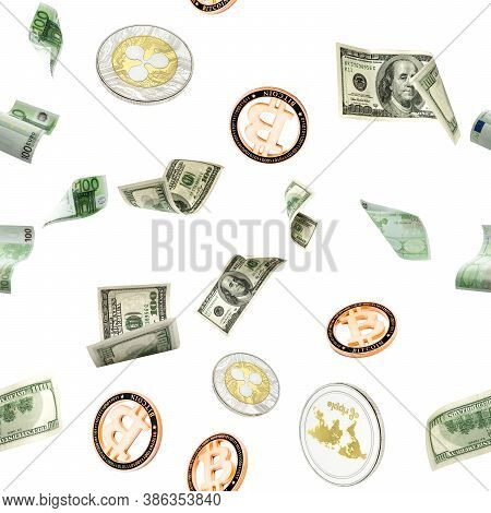 Seamless Pattern Money Falling. American, Euro And Bitcoin Money. Washington American Cash, Usd Cryp