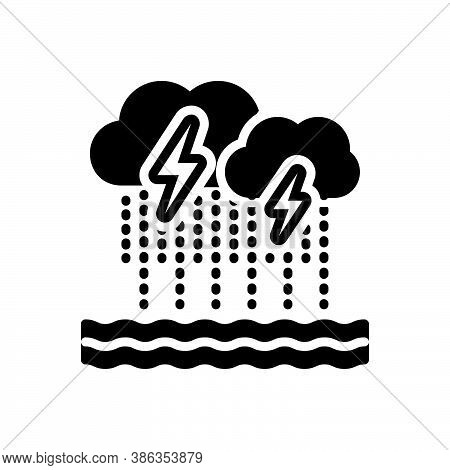 Black Solid Icon For Severe Bad Weather Cloud Rain Thunder Heavy-rainfall Downpour Disaster Monsoon