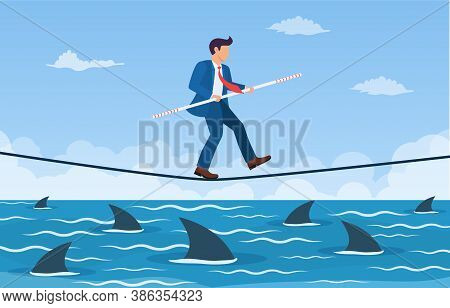 Businessman Walking A Tightrope With Balancer Stick Over Shark In Water. Way To Success. Obstacle On