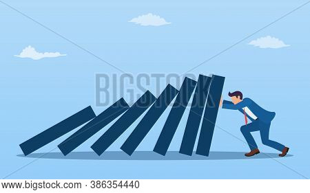 Cartoon Business Executive Pushing Hard Against Falling Deck Of Domino Tiles. Business Concept. Vect