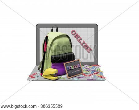 3d Rendering Concept Of Online Learning At School On White Background No Shadow