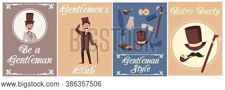 Set Of Cards Or Posters For Gentleman Party And Club Flat Vector Illustration.