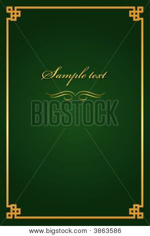 Book Cover Green With Gold