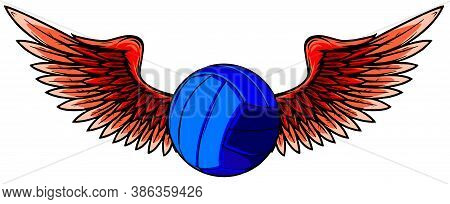 Realistic Volley Ball With Raised Up Red Wings Emblem Vector