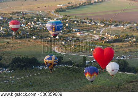 Aeronautics Festival In Crimea Near Belogorsk On September 19, 2020. Balloons In The Sky Over The Vi