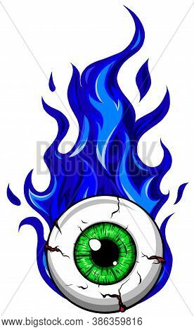 Eyeball On Fire - A Cartoon Illustration Of A Eyeball With Flames Coming Off Of It. Vector