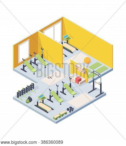 Fitness Gym Interior Isometric Illustration. Lighted Room With Cardio Equipment Sun Loungers Barbell