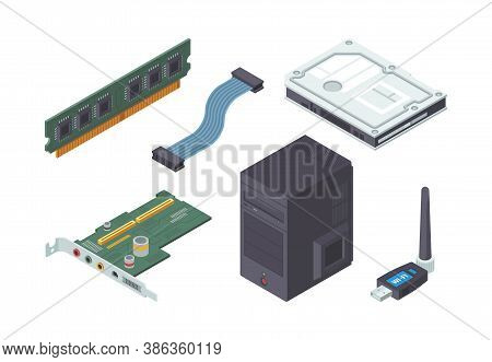 Parts Personal Computer Isometric Set. Modern Green Audio Card Ram Plate Adapter Cable For Connectio
