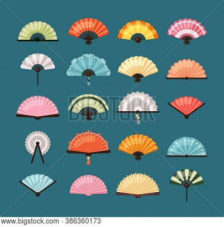 Traditional Fans Set. Oriental Decoration Asian Colorful Designs With Pictorial Ornaments Red Orange