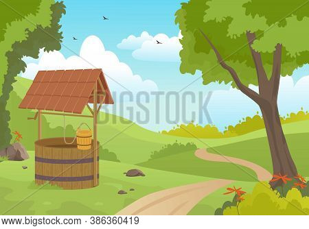 Wooden Water Well In Forest Illustration. Picturesque Old Spring With Canopy And Bucket On Rope Stan