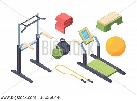 Fitness Exercise Equipment Isometric Set. Swedish Wall With Crossbar Handles Chinups Modern Treadmil