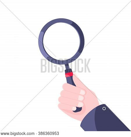Hand Holds Magnifying Glass Flat Style Design Icon Sign Vector Illustration Isolated On White Backgr