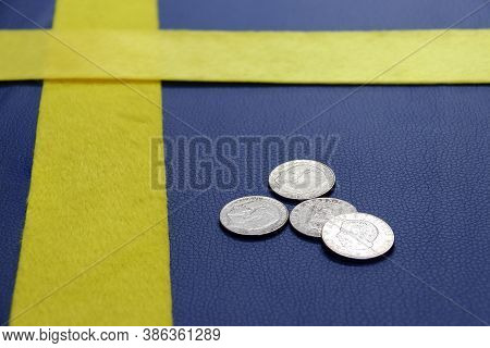 Coins Of Sweden On The Blue Pvc Leather With Yellow Fabric, Put Like A Sweden Nation Flag. Swedish K
