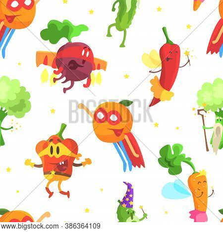 Superhero Vegetables Seamless Pattern, Funny Vegetables Dressed In Superhero Costumes Backdrop, Wall