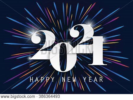 2021 Happy New Year Elegant Design - Vector Illustration Of Paper Cut White Color 2021 Logo Numbers