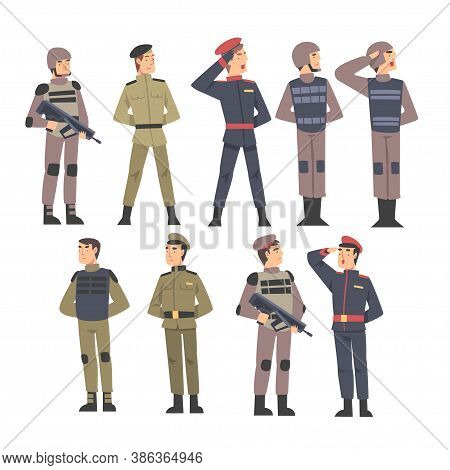 Military People Set, Army Soldiers Characters Dressed In Various Combat Uniform Cartoon Style Vector