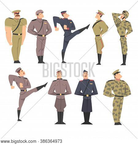 Military People Set, Army Soldiers Characters Dressed In Various Uniform Marching And Saluting Carto