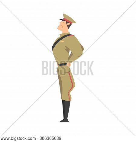 Side View Of Army Soldier, Military Man Character In Khaki Uniform Cartoon Style Vector Illustration