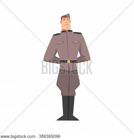Army Soldier, Infantry Military Man Character In Gray Uniform Cartoon Style Vector Illustration