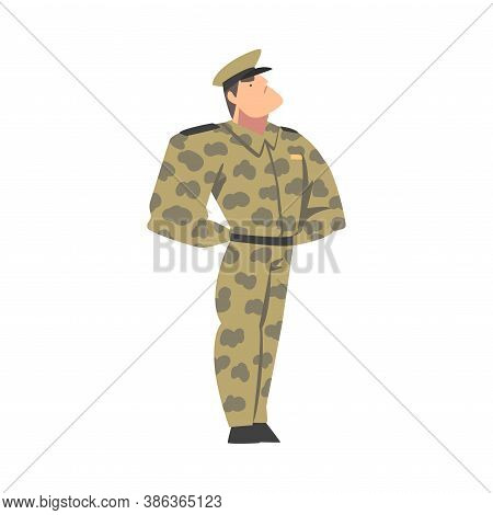 Military Man In Camouflage Uniform, Muscular Army Soldier Character Cartoon Style Vector Illustratio